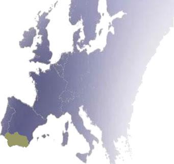Imagen que muestra un mapa de Andalucía y Europa juntos